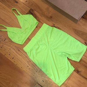 Boohoo Shorts - neon lime biker short set 💸💸